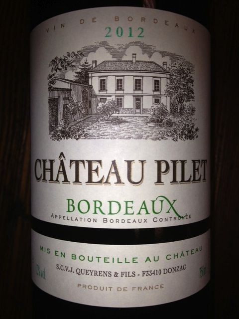 Chateau Pilet 2012 Bordeaux Blanc