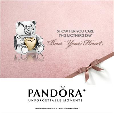 Pandora Teddy Bear Charm With Gold Heart