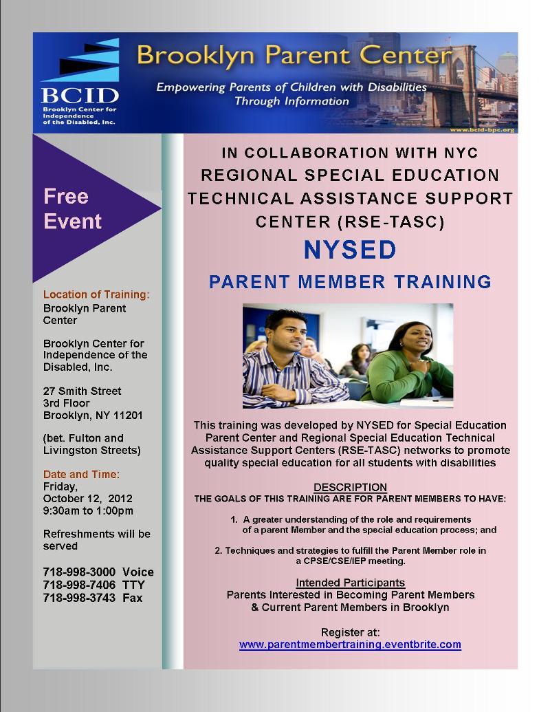 Flyer - Parent member training 2012