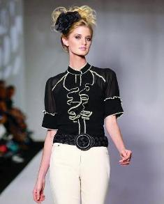 spring 2010 fashion, black ruffle blouse