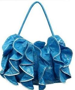 Donnie blue ruffle, cruelty free shoes, cruelty free handbags, cruelty free fashion