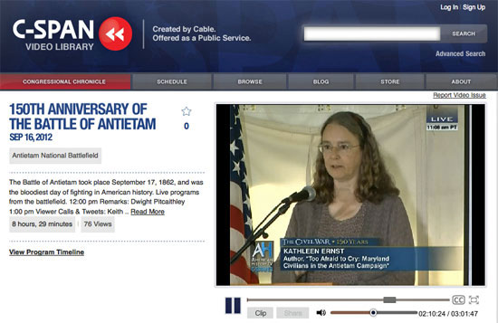 Kathleen Ernst speaking on C-SPAN at the 150th Anniversary of the Battle of Antietam, Maryland.