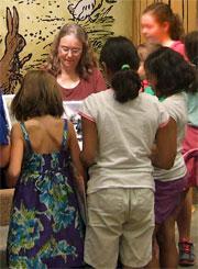 Bestselling author Katheen Ernst signing her Caroline American Girls books.