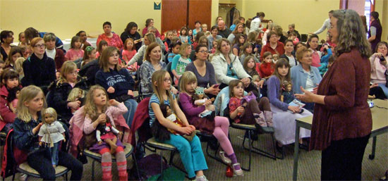Kathleen Ernst speaking with American Girl fans at the Verona WI Public Library on March 26, 2013.