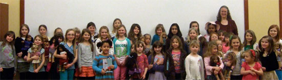 Author kathleen Ernst and American Girl fans at the Verona WI Public Library Tea Party March 26, 2013.