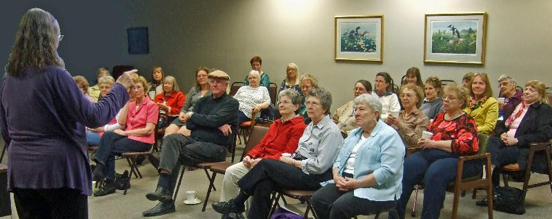 Photo of the audience for the Chloe Ellefson Mysteries program at the Eagle, WI, public library on April 22, 2013.