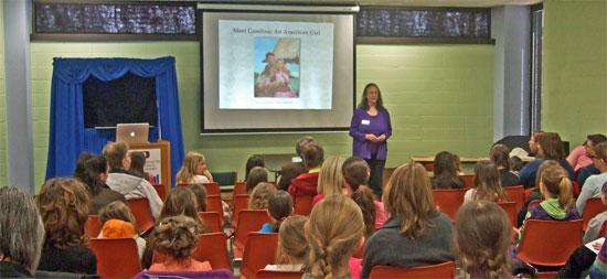 Bestselling author Kathleen Ernst doing her American Girl Fans program at the 2013 Fox Cities Book Festival.