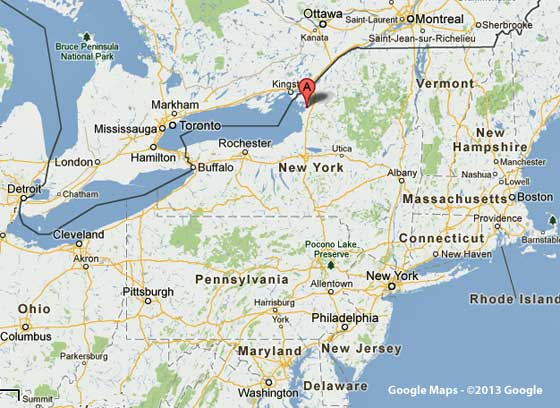 Google map of NE US showing Sackets Harbor, New York.