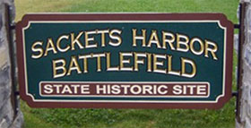 Photo of the Sackets Harbor Battlefield State Historic Site sign.