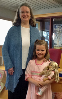 Ava dressed as Caroline Abbott, who introduced author Kathleen Ernst at the 2013 Annapolis Book Festival.
