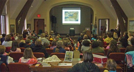 Kathleen Ernst doing her American Girl Fans program at the Lake Mills Public Library 18 April 2013.