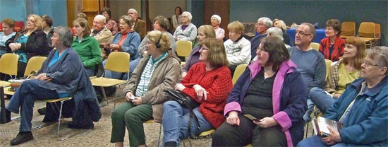 Photo of the audience at the Chloe Ellefson Mysteries program by author Kathleen Ernst, given April 25, 2013 at the Brookfield, Wisconsin, Public Library.