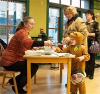 Author Kathleen Ernst signing Chloe Ellefson books at Vesterheim.