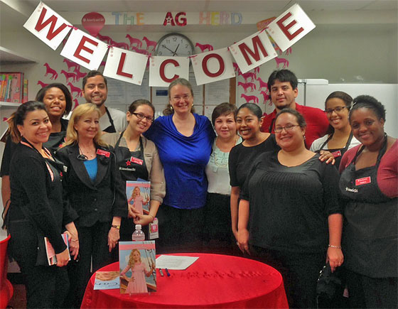 American Girl store Miami staff with Author Kathleen Ernst on 30 July 2013.