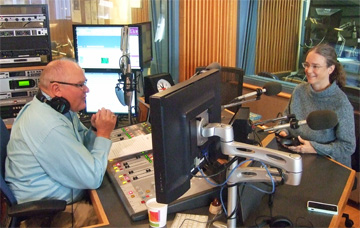 Author Kathleen Ernst being interviewed on the Larry Meiller Show on Wisconsin Public Radio.