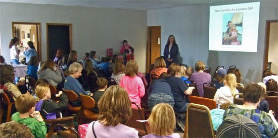 Photo of audience at American Girl Fans program by author Kathleen Ernst at Eagle, WI, public library April 22, 2013.
