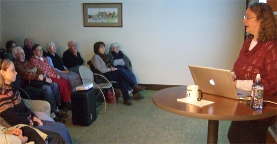 Author Kathleen Ernst doing her Chloe Ellefson - Stories Behind the Stories program January 24, 2012 at the Mineral Point WI Public Library.
