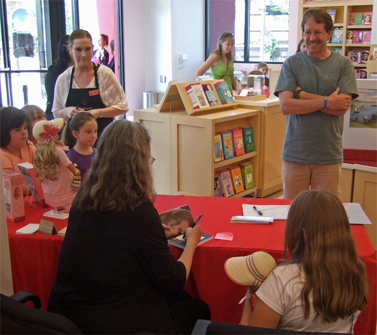Kathleen Ernst signing her books at the Denver American Girl Store