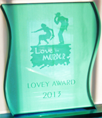 LOVEY Award plaque for Best Traditional Mystery won by author Kathleen Ernst for
