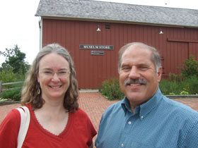 Author Kathleen Ernst and Old World Wisconsin historian Marty Perkins, August 2012.