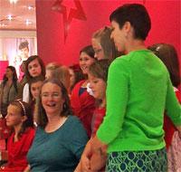 Kathleen Ernst and choir at American Girl Washington DC store.
