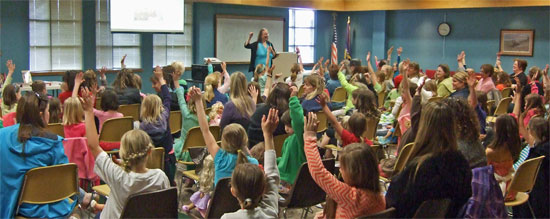 Photo of capacity crowd at American Girl Fans program by author Kathleen Ernst held April 25, 2013 at the Brookfield, Wisconsin, Public Library.