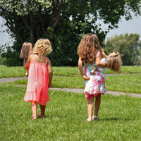 Two American Girl fans and their dolls at Scakets Harbor, NY.