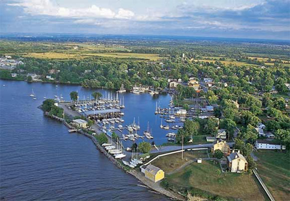 Aerial photo of Sackets Harbor, New York.