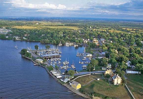 Aerial photo of Sackets Harbor, New York.