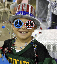 Noralyn Heisig's son Casey shows his National Capital spirit while he was selling raffle tickets