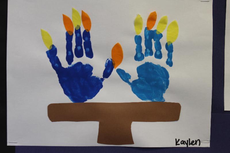 Turkey hand print menorah by kaylen in the green room for Hanukkah crafts for preschoolers