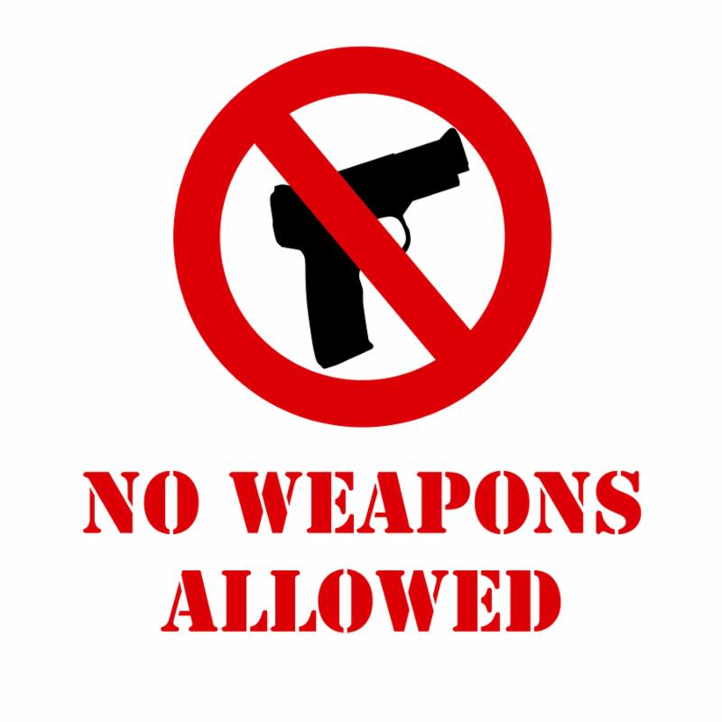no weapons allowed illustrated sign over a white background