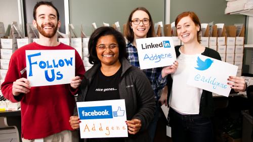 Follow Addgene on Facebook, Twitter, or Linkedin