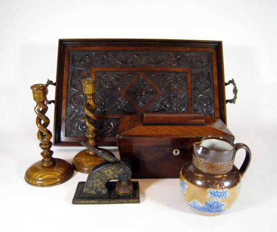 antique English tea tray, candlesticks, tea caddy, etc.