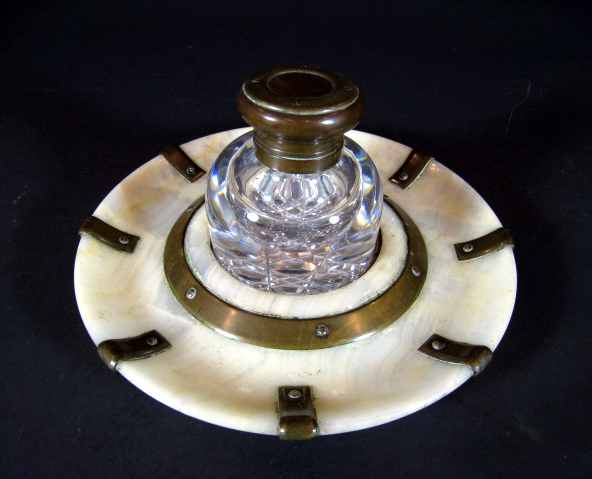 antique inkwell with original alabaster holder