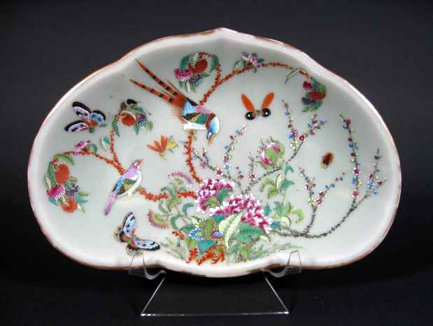 antique Chinese Celadon dish with hand painted design