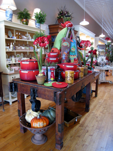 Le Creuset display at Belles Beaux & Gifts