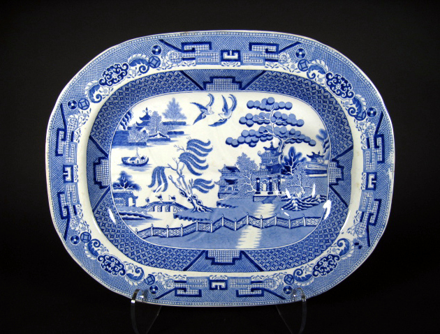 Antique English Blue Willow Platter With Well