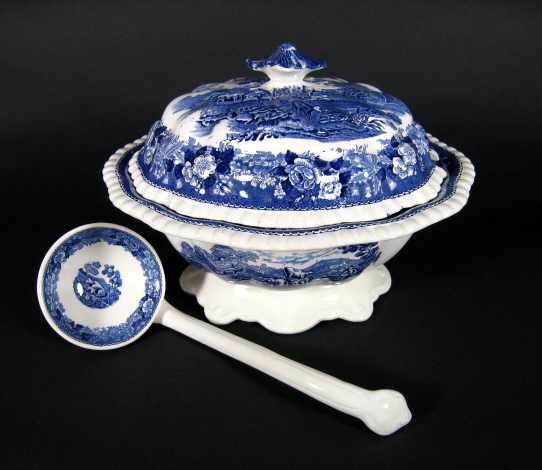 antique English Blue & White Transferware Soup Tureen With Matching Ladle