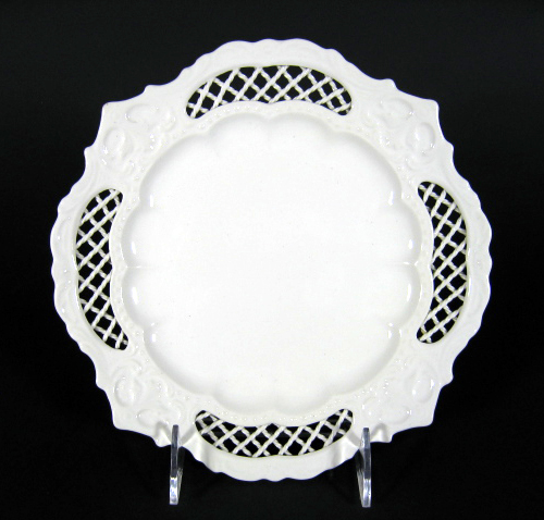 Antique English Creamware Latticework Plate tjb7107