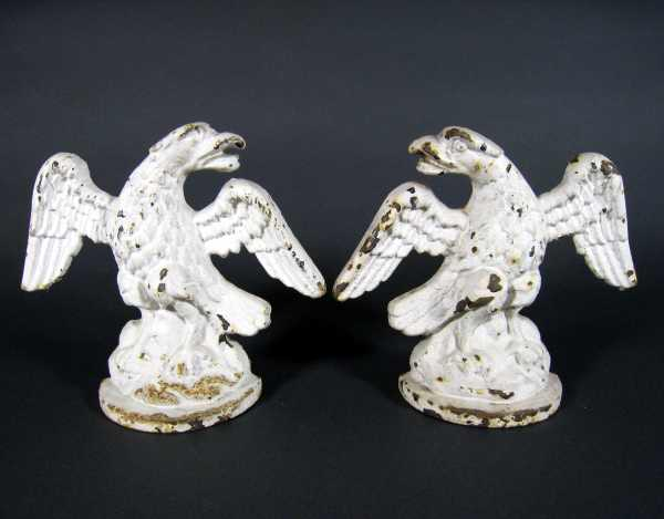 pair of antique cast iron eagle doorstops