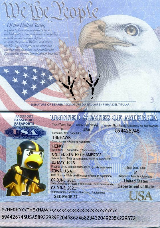 Herky has his passport; do you?