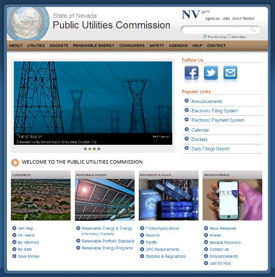 PUCN eNews: New PUCN Website; New 725 Area Code in Southern Nevada
