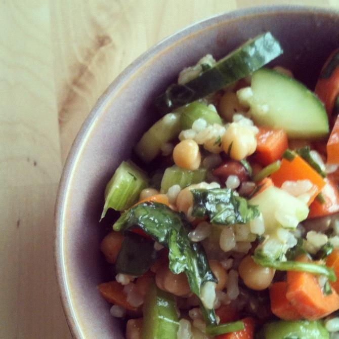 Brown Rice Chickpea Salad