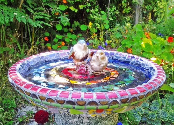 Jane Schafgans mosaic birdbath