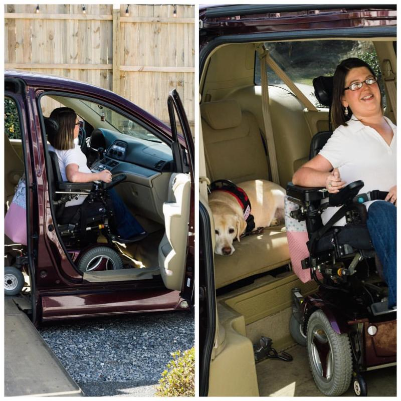 Linzey poses in her van with her service dog.