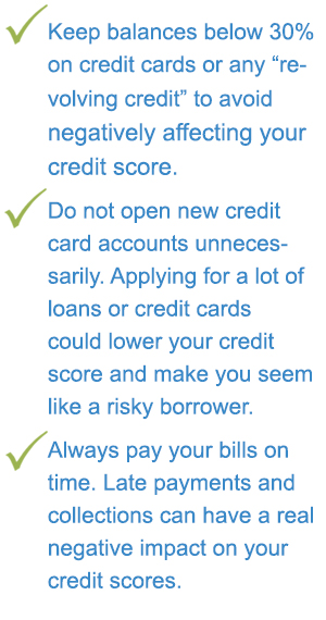 Keep balances below 30% on credit cards or any