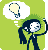 Penny Pincher cartoon with a lightbulb above her head