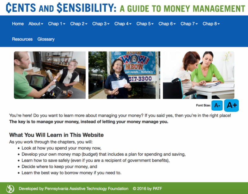 Screenshot of the _What You Will Learn in This Website_ page of www.centsandsensibility.us.