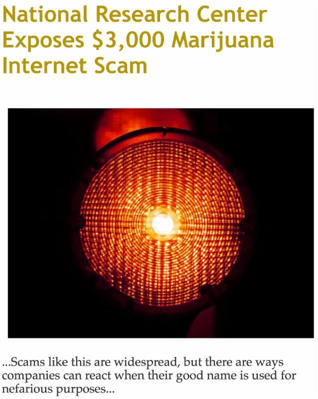 National Research Center Exposes _3_000 Marijuana Internet Scam
